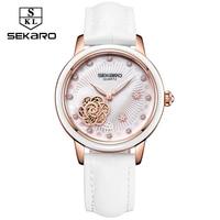 Sekaro Women Luxury Top Brand Watch Ladys Lucky Flower Fashion Wrist Watch Women's Wristwatch Montre Femme Quartz Watch For Gift