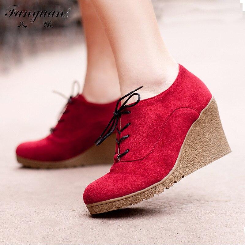 Новинка 2017 года женские ботинки модные ботильоны из флока на платформе с  высокими каблуками обувь на шнуровке на высоком каблуке для женщин сезон ... aeb04880fbcfd