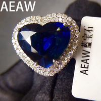 AEAW Solid 10K White Gold 5ct Heart Cut Lab Created Sapphire Engagement With 1.ctw white Moissanite Ring Free shipping