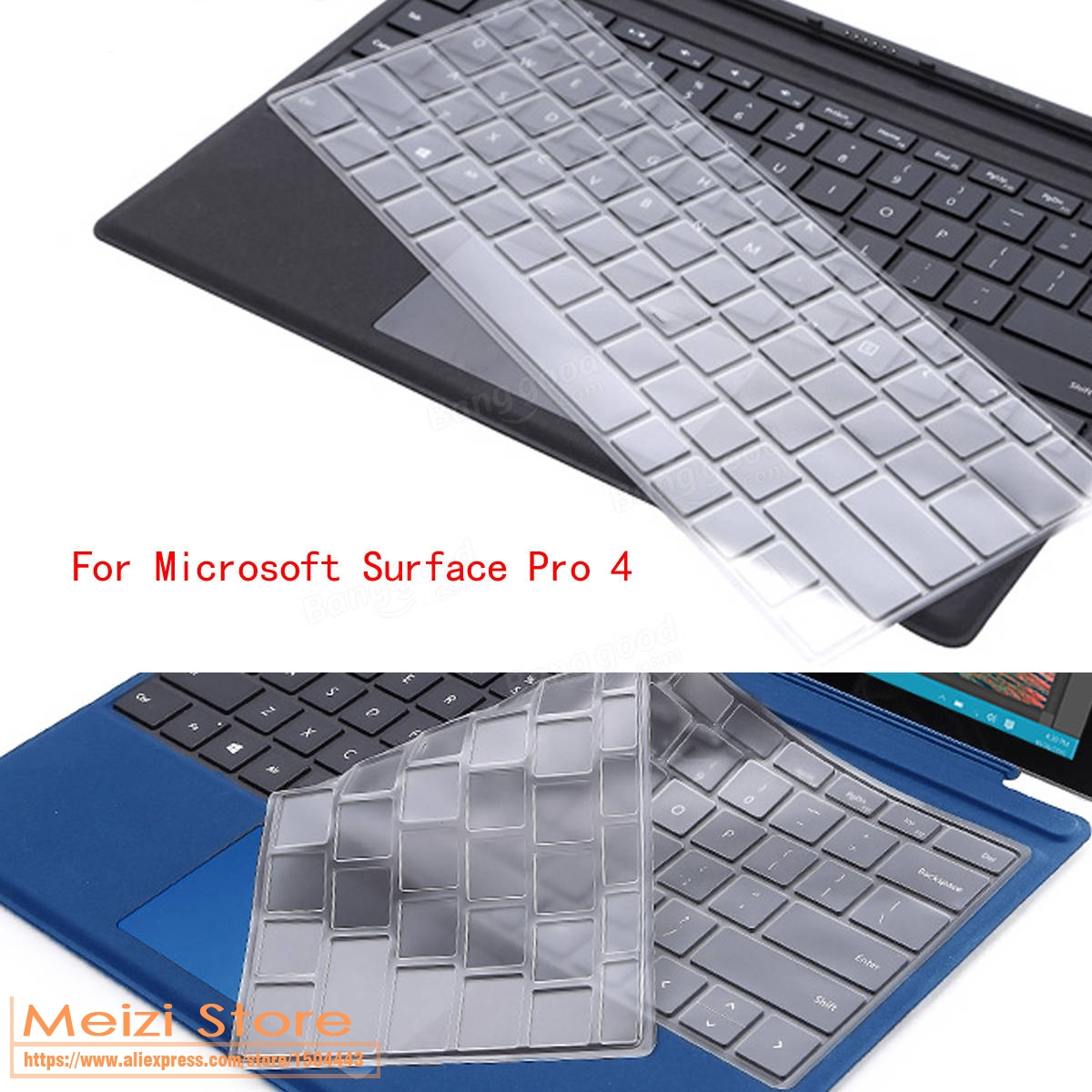 Ultra Thin Clear TPU keyboard Skin Cover Protector for Microsoft Surface Pro 4