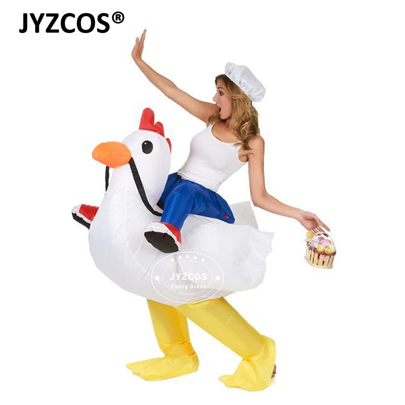 JYZCOS Unisex Adult Purim Party Cosplay Inflatable Cock Costume Fan Operated White Rooster Rider Fancy Dress Suits For Women Men