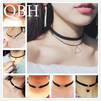 New Gothic Punk Harajuku Choker Necklace Leather Black Velvet Suede Steampunk Torques Jewelry