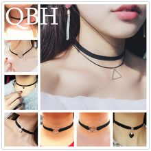 New Gothic Punk Harajuku Choker Necklace Leather Black Velvet Suede Steampunk Torques Jewelry Triangle LOVE Heart Star Crystal(China)