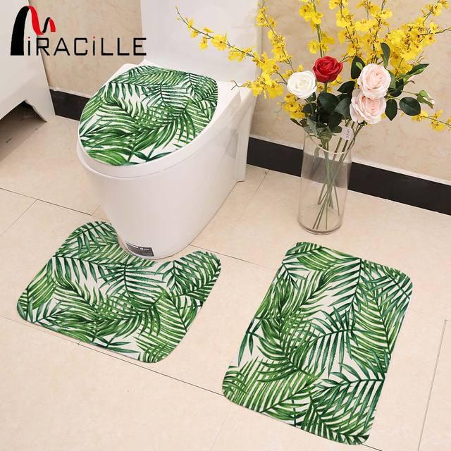 Miracille Set Da Bagno Toilet Seat Cover Creativo Tropicale Foglie Verdi Igienic