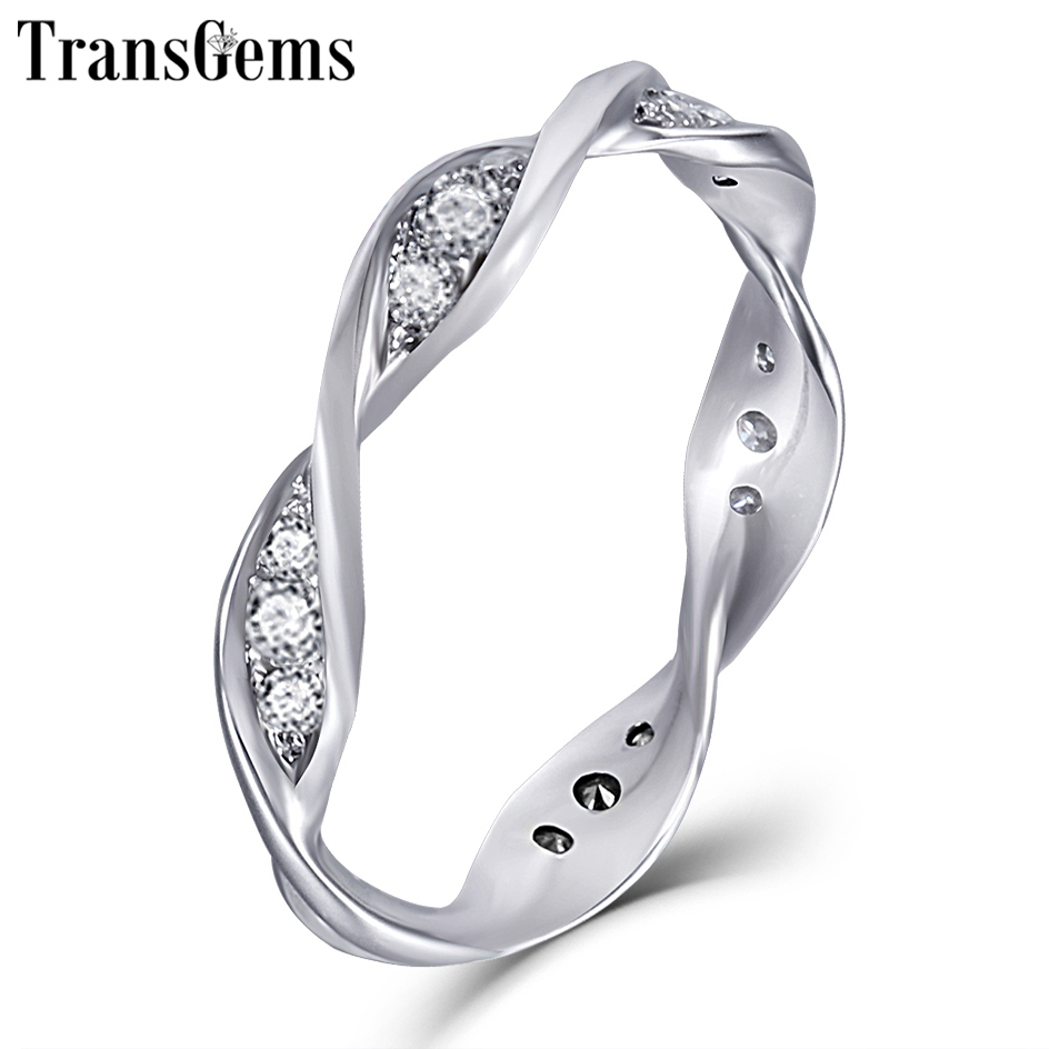 TransGems Solid Gold Spiral Ring 14K 585 White Gold Moissanite Diamond Wedding Band for Women Gift Eternity Wedding Band