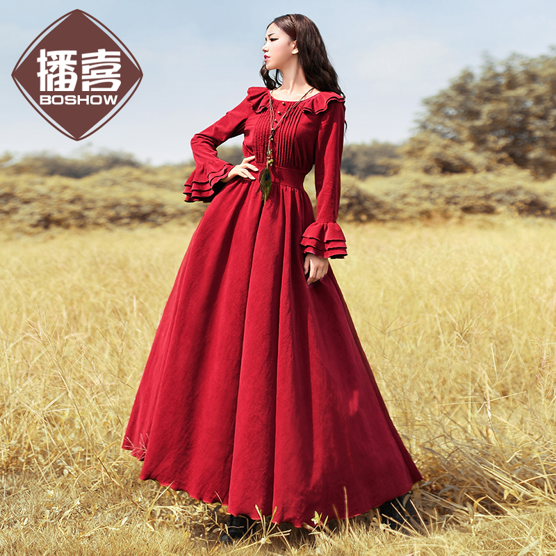 Free Shiping 2018 Boshow Women Vintage Cotton Corduroy Long Maxi Ruffles Sleeve Dresses Spring And Autumn Gorgeous Dresses S-XL