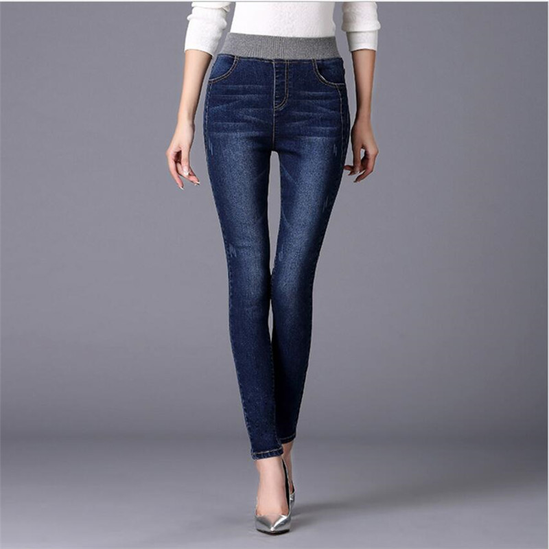 Plus Size 26-40 Elastic Jeans For Women Trousers Stretch Slim Was Thin Jeans Cotton Elasticity Waist Pencil Pants