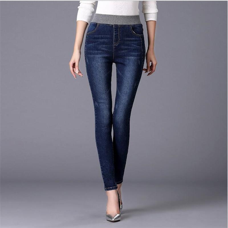 Plus Size 26-40 Elastic Jeans For Women Trousers Stretch Slim Was Thin Jeans Cotton Elasticity Waist Pencil Pants