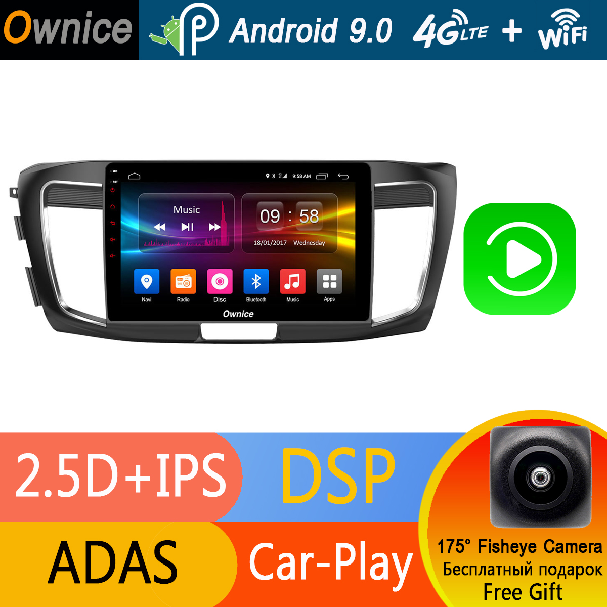 10 1 IPS Android 9 0 Car Radio Player GPS Navi 4G RAM 32G ROM For
