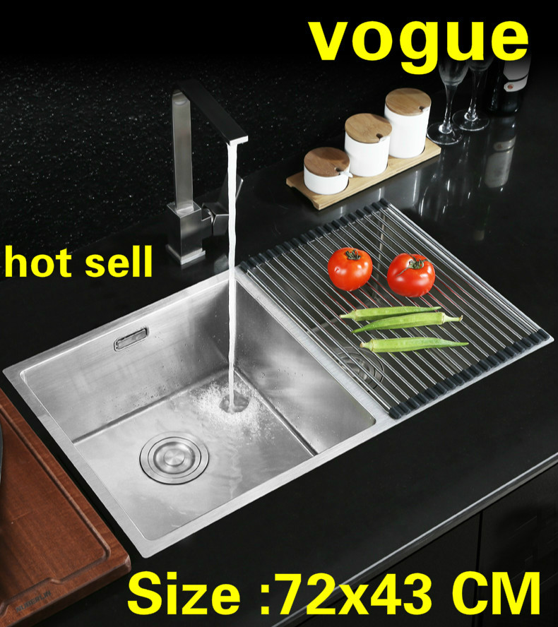 Free shipping Apartment small kitchen manual sink double groove do the dishes food grade 304 stainless steel hot sell  72x43 CMFree shipping Apartment small kitchen manual sink double groove do the dishes food grade 304 stainless steel hot sell  72x43 CM