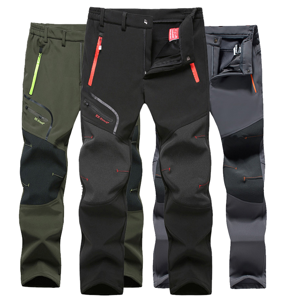 Tactical Waterproof Hiking Pant Men Breathable Stretch Softshell Fleece Lined Pants Outdoors Sports Plus Size 4XL 5XL Winter