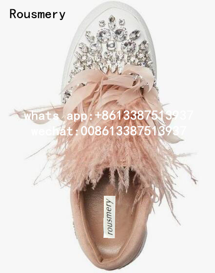 Drop Shipping 2017 Autumn Girls Pink/Gray/Black/Light Blue Feather Diamond Crystal Round Toe Slip On Flats Casual Skate Shoes карабин black diamond black diamond rocklock twistlock