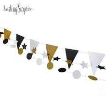 Eid Mubarak Black White Gold Set Paper Garland Glitter Paper Pennant Bunting Flags Wedding Teepee Decoration Birthday Party