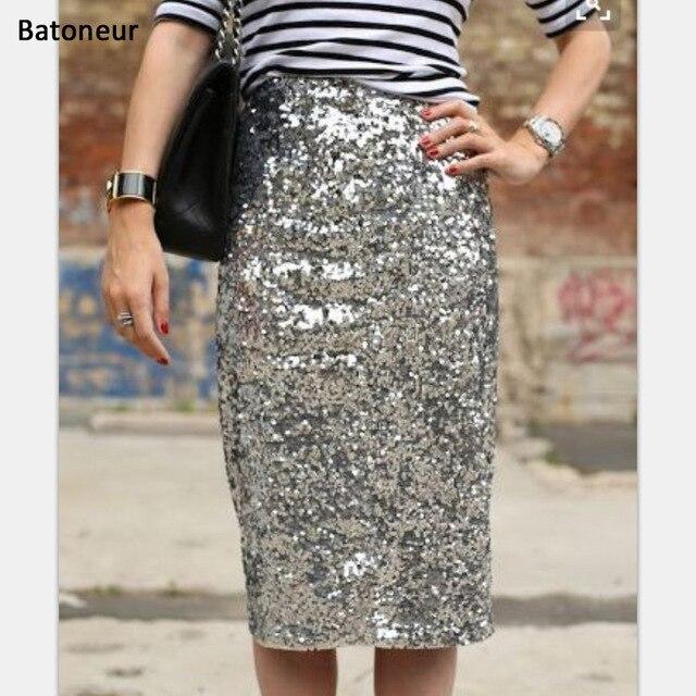 d33ae1ec95 Batoneur faldas de lentejuelas de plata para mujer recta hasta la rodilla  Falda Midi hecha a