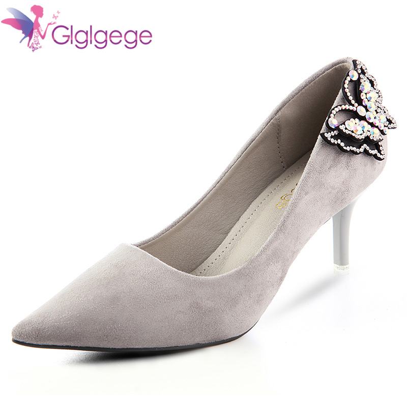 Glglgege Animal Picture 7CM Women Sexy Pointed Toe High heels Bling diamond Wedding shoes Lady Party pumps Large Size 41 shoes