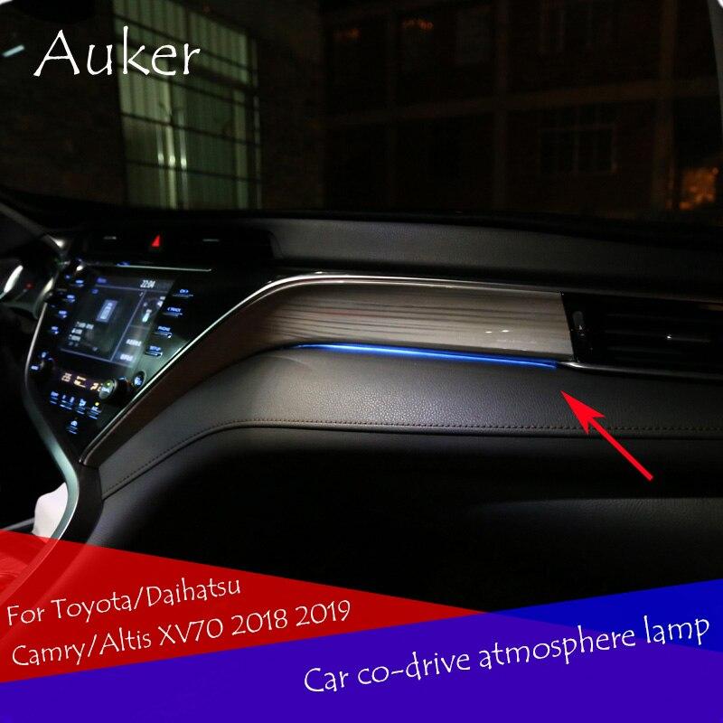 Car LHD Co-pilot Atmosphere Light Lamp Interior Ambient Optical Fiber Bright For Toyota/Daihatsu Camry/Altis XV70 2018 2019