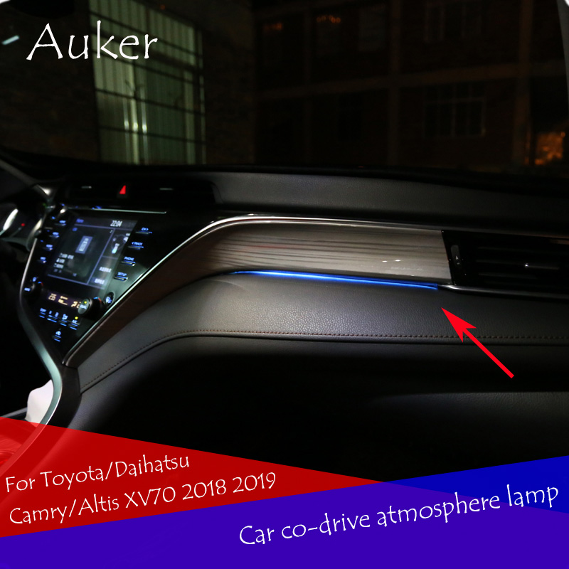 LHD Co-piloto do carro Lâmpada Atmosfera de Luz Ambiente Interior de Fibra Óptica Brilhante Para Toyota/Camry Daihatsu/Altis XV70 2018 2019