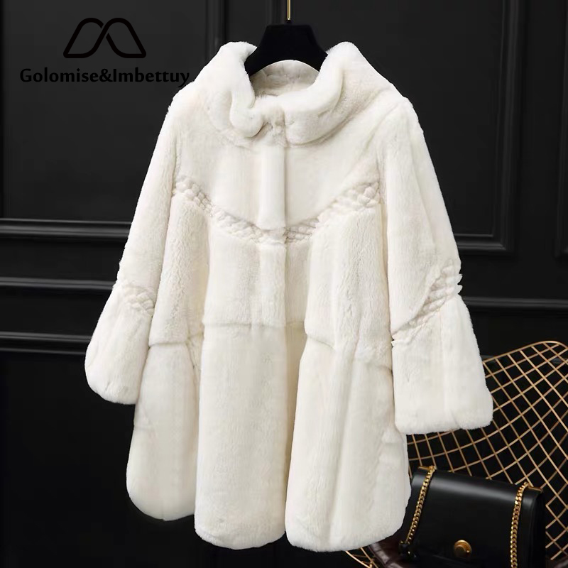 Golomise&Imbettuy Real/Genuine Rex Rabbit Fur Coat Women Winter Natural Rex Rabbit Fur Coat/Jacket(China)