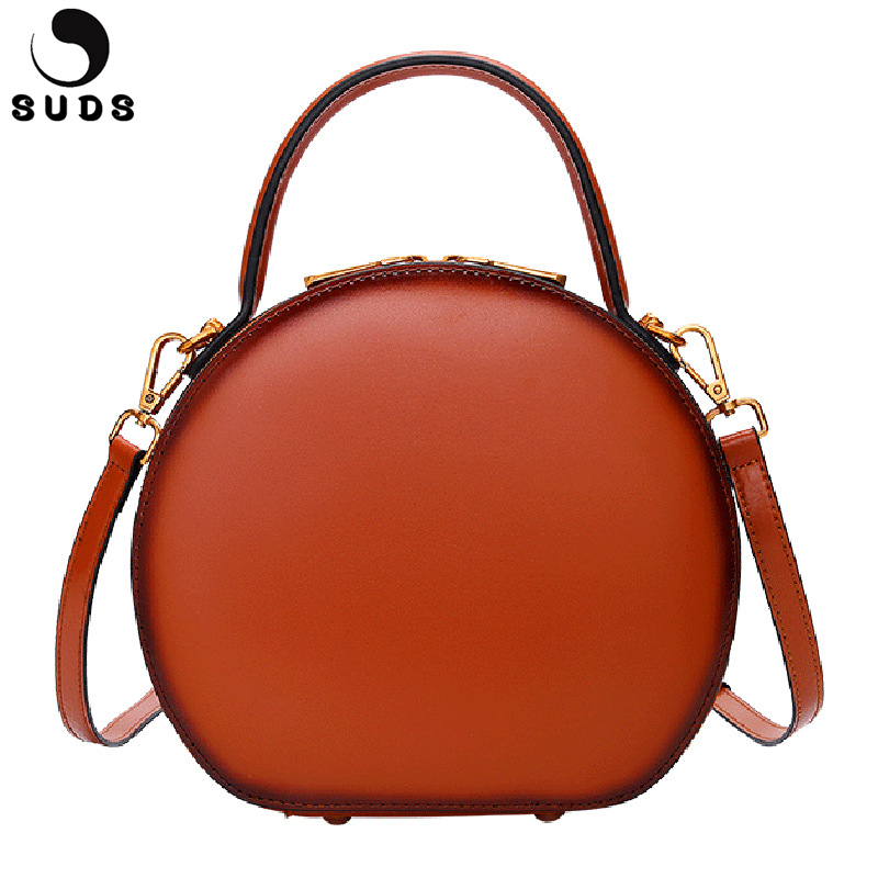 SUDS Brand Genuine Leather Women Messenger Bags Fashion Circular Mini Tote Handbag Shoulder Bag Cow Leather Female Crossbody Bag suds brand genuine leather 2018 fashion women small shoulder bag high quality cow leather women messenger bag crossbody flap bag