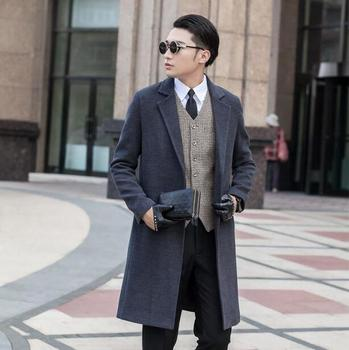 Grey long sleeve suit collar wool coat men jackets and coats mens slim wool No buttons winter trench coats modern urban  S – 9XL