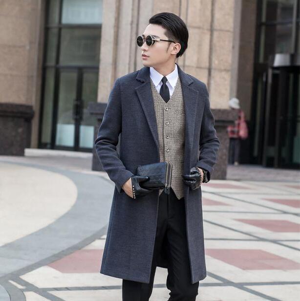 Gris manches longues costume col laine manteau hommes vestes et manteaux hommes slim laine pas de boutons hiver trench manteaux moderne urbain S-9XL