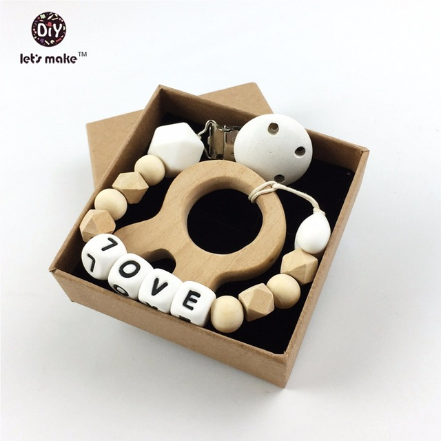 Silicone Teething pacifier clip baby Wooden teether silicone beads Montessori toy Baby shower gift letter teether