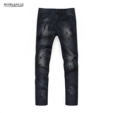MORUANCLE Hi Street Men Ripped Painted Jeans Pants Fashion Distressed Black Denim Joggers Slim Fit Washed Jean Trousers For Male