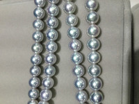 7 8MM Natural Sea Water Pearl Necklace Japan Akoya Pearl Necklace Grey Top Quality Super Luster Perfect Round Women Jewerly