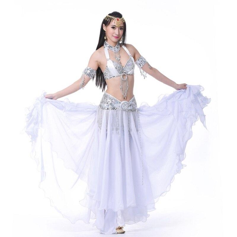 ᗐBlanco trajes de danza del vientre 6 piezas (falda + correa + ...