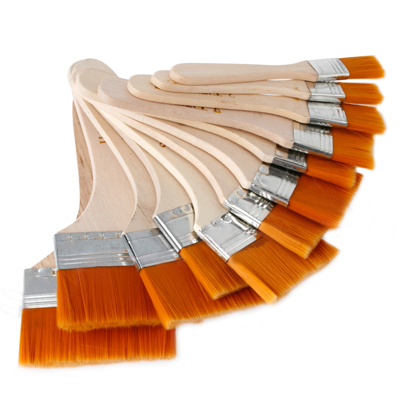 12pcs/Set High Quality Nylon Mao Banshua Oil Paint Brush Artists BBQ Brush For Painting Art Easy To Clean Wooden Cleaning Brush