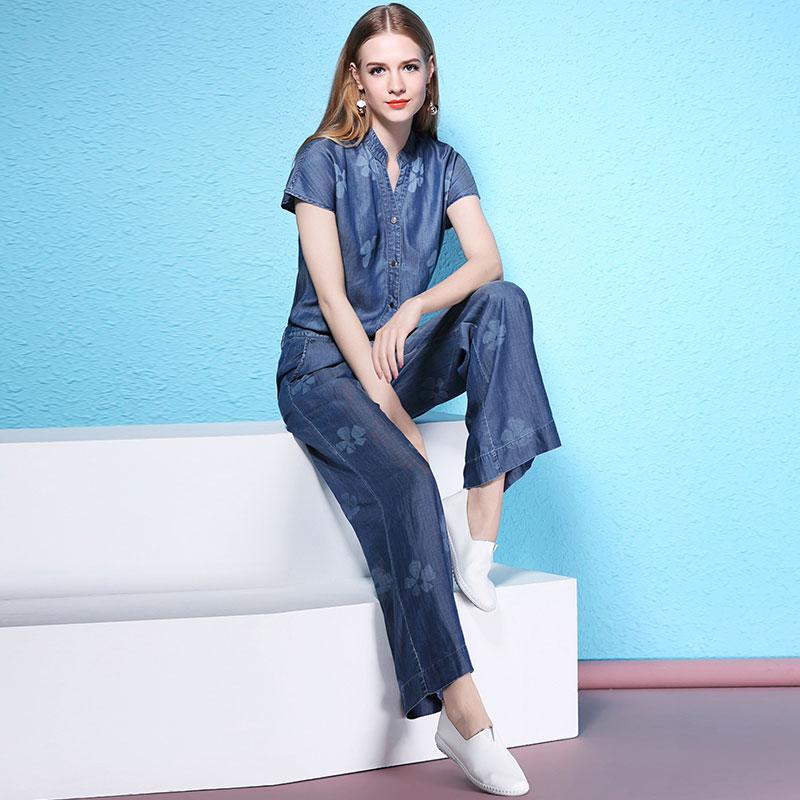 Floral Print Denim Jumpsuit Jeans Women Fashion 2018 New Full Length
