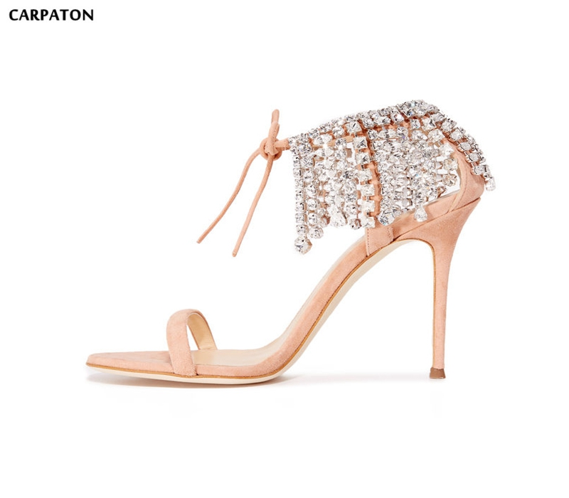 Carpaton 2018 Night Club High Heel Sandal Nude  Suede Crystal Embellished Lace-up Shoe Open Toe Rhinestones Tassel Sandal