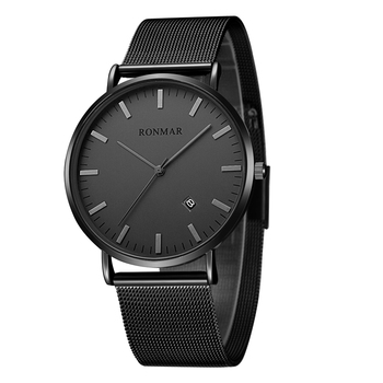 Reloj de cuarzo a la moda RONMAR de cuero de lujo o correa de acero inoxidable 30 metros reloj Unisex resistente al agua