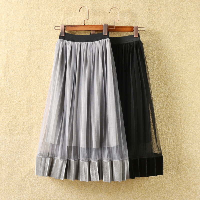 Sweet Kids Girls Ruffles Velvet Tulle Party Skirts Candy Gray Black Color Spring Autumn Summer Fashion Holiday Skirts