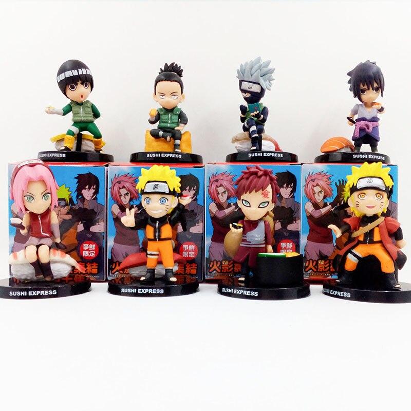 NARUTO Kakashi Naruto Gaara Sakura Rock Lee Nara Sasuke Sushi ver. PVC Figures Moidel Toys 8pcs/set 8cm KT1772