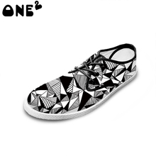 2016 Spring/Autumn Geometric Design Printing shoes for men casual flat shoes suitable teenager boys students free shipping