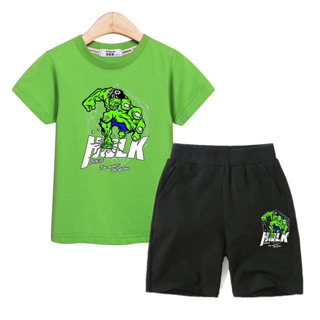 Aimi lakana children cartoon outfits boys clothes summer tees +cotton shorts 2pc sets hulk 3D printing kids costumes suit