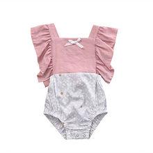 Милый комбинезон без рукавов в стиле пэчворк для маленьких девочек; От 0 до 2 лет Одежда для маленьких девочек; топы с цветочным принтом; боди с оборками
