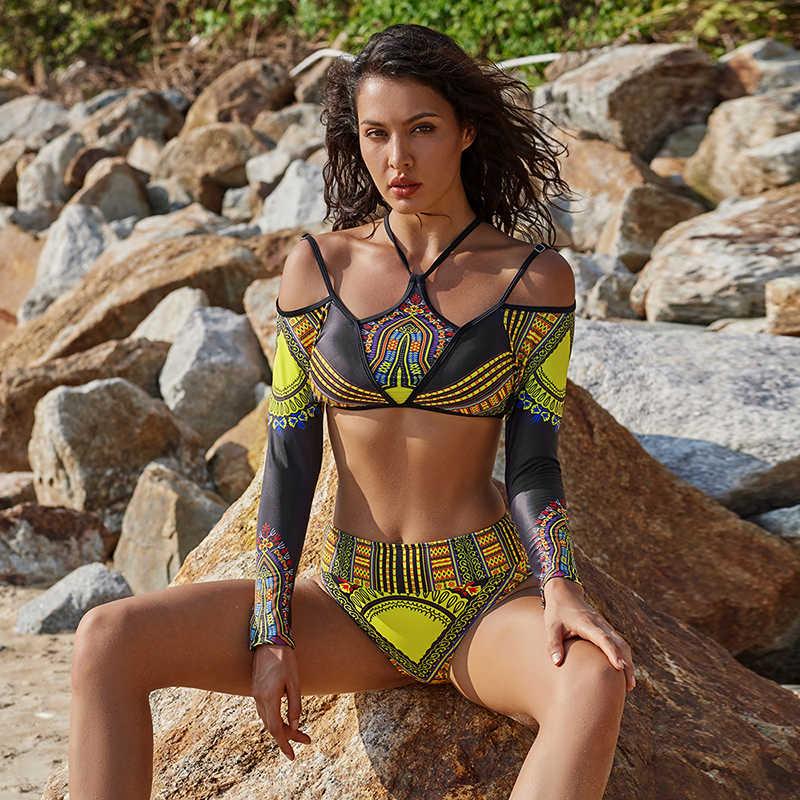 3b0fd1f7bb1 ... Ariel Sarah Long shoulder Bikini Sexy Plus size Swimwear Women High  Waist Brazilian Bikini Set Floral ...