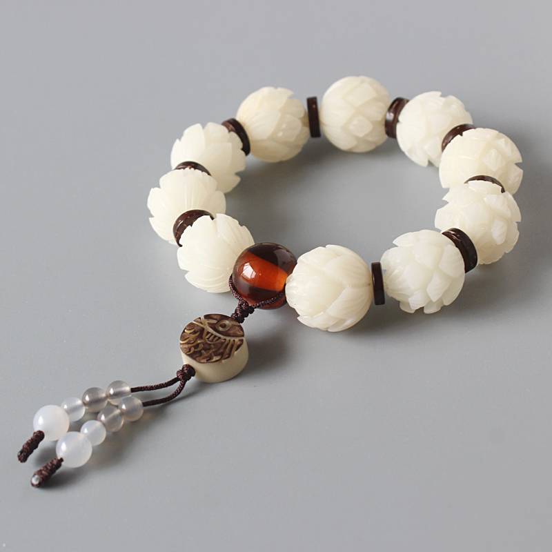 White Bodhi Seed Carved Lotus Flower Beads Stretch Bracelet For Women Unique Wood Crafts Beaded Jewelry Artisan Handmade Gift sweet beads layered flower bracelet for women