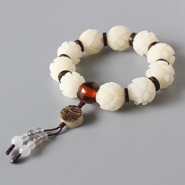 Wit Bodhi Zaad Gesneden Lotus Bloem Kralen Stretch Armband Voor Vrouwen Unieke Hout Ambachten Kralen Sieraden Artisan Handgemaakte Gift