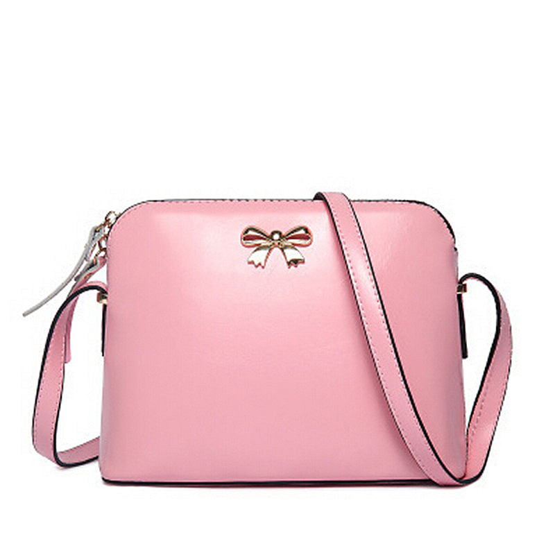 BARHEE Women Leather Handbag Fashion Girls Messenger Bags Candy Color Crossbody Shoulder Bag Shell Small bow Black Pink Beige 2017 new crossbody bags for women candy colors messenger bag brand fashion ladies shoulder bag women leather handbag l4 2616