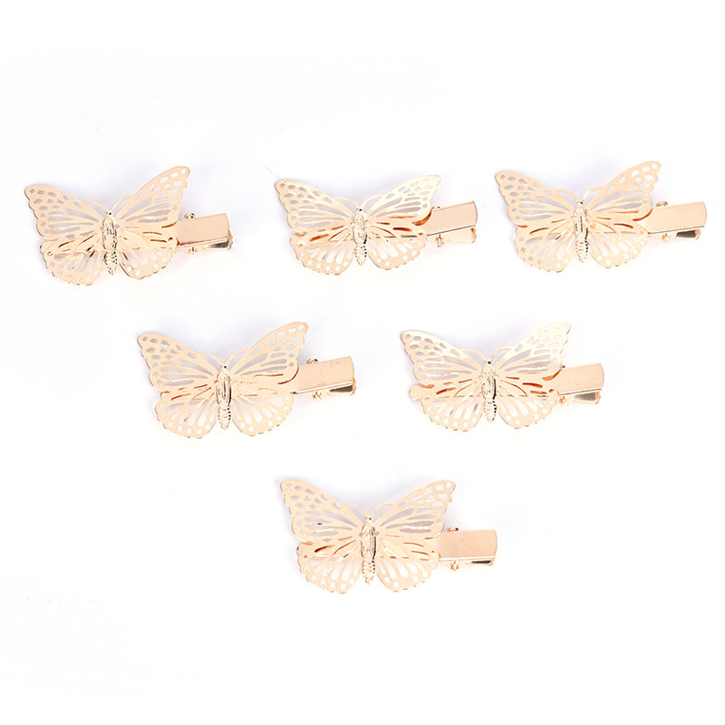 Fashion Women Shiny Golden Hollow Butterfly Hair Clip Headband Hairpin Accessory Headpiece