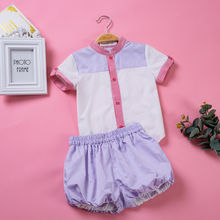 Pettigirl 2019 Summer Boy Clothing Set Turn-down Collar White Shirts And Purple Striped Short Outfit Boys Clothes B-DMCS004-B5(China)