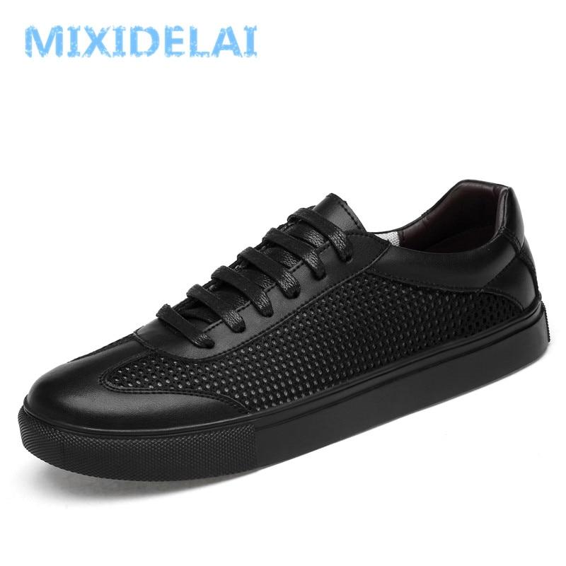 MIXIDELAI Genuine Leather Men Casual Shoes Spring Autumn 2018 New Breathable Soft Men's Handmade Flats Men Shoes Men Sneakers