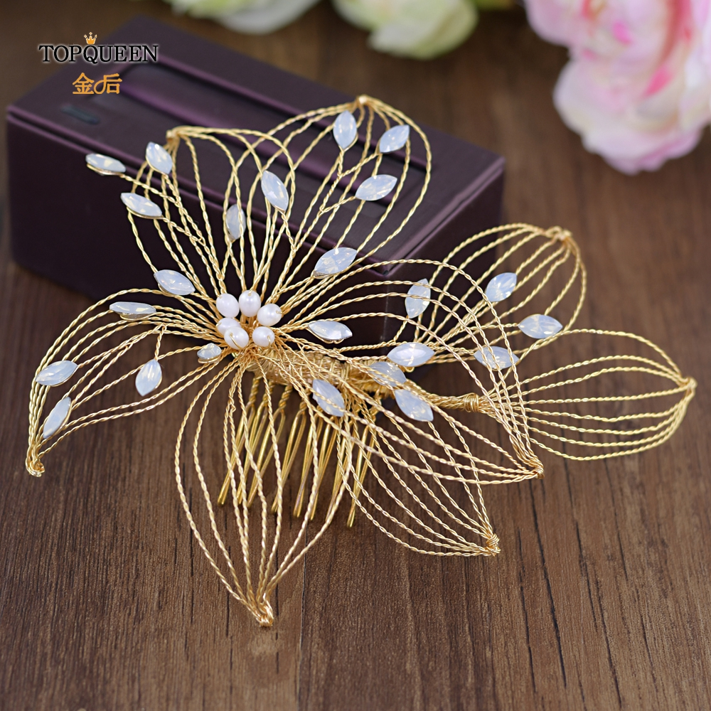 TOPQUEEN HP257 wedding accessories for hair wedding facinators wedding decorations for brides bridal accessories gold hair piece in Bridal Headwear from Weddings Events