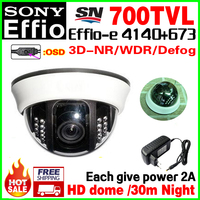 Free Shipping 1 3 Sony Sensor CCD Effio Real 700TVLIndoor Dome Security Surveillance Hd Camera System