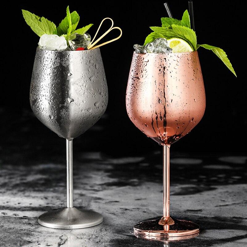 304 de aço inoxidável vinho tinto vidro prata rosa ouro goblets suco bebida champanhe taça festa barware cozinha ferramentas 500ml