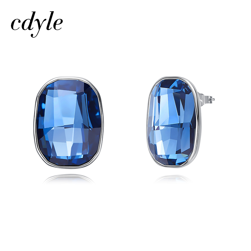 Cdyle Crystals from Swarovski 925 Sterling Silver Dazzling Rhinestone Brincos Delicate Simple Stud Earrings Jewelry For Women pair of chic faux crystals rhinestone stud earrings for women