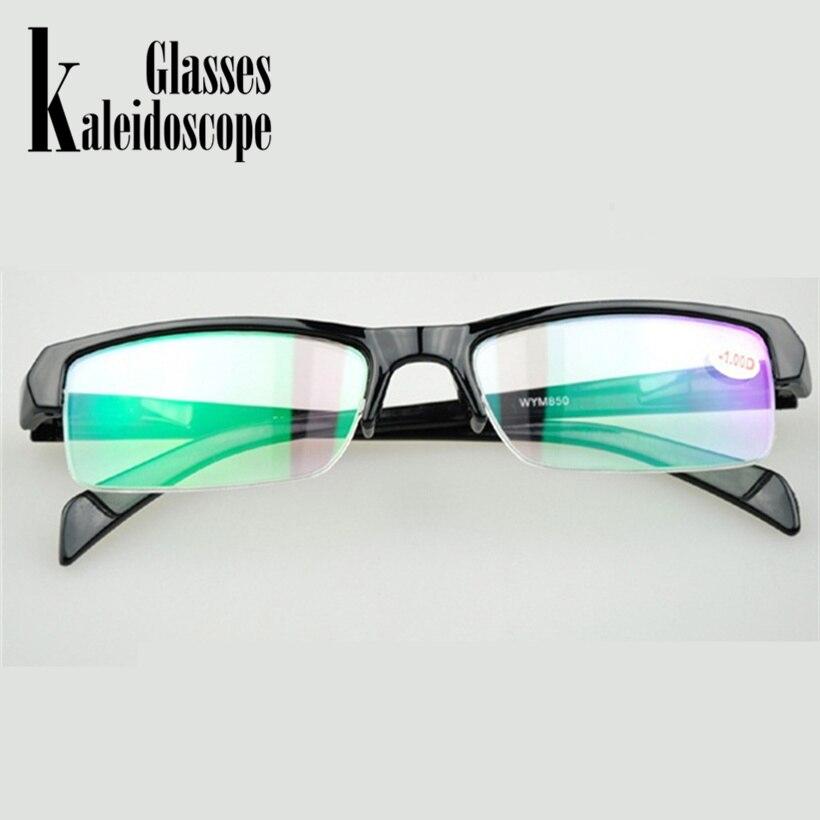 Женские и мужские полуоправы очки для близорукости HD Смола высокое качество дешевые черные Frams рецепт-1,0-1,5-2, 5 очков мужские минус линзы